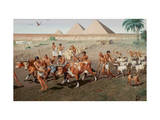 Farmers Sow Seeds in Fields Near the Pyramids of Giza Giclee Print by H.M. Herget