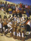 This Painting Shows a Hopi Priest Dancing to Bring Rain Photographic Print by W. Langdon Kihn