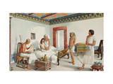 Physician Consults Medical Papyrus, Ill Princess and Her Family Wait Giclee Print by H.M. Herget