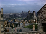 Tourists and Soldiers Walk in Edinburgh Castle Yard Overlooking City Photographic Print by B. Anthony Stewart