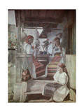 Three Bandanna Clad Girls Sit on a Porch, Spinning Wool Photographic Print by Wilhelm Tobien