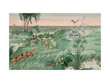 Egyptians Hunting Waterfowl Operate a Net Trap in Marshes Giclee Print by H.M. Herget