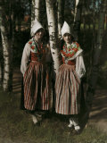 Two Leksand Women Stand Among the Birch Trees in Dalarna Photographic Print by Gustav Heurlin