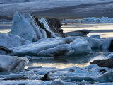 Twilight View of Blue Ice in the Vatnajokull Icefield, Iceland Photographic Print by Mattias Klum