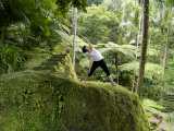Pregnant Woman Stretches and Practices Yoga in a Tropical Forest Photographic Print by  xPacifica
