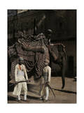 Two Indian Screen Actors Await a Ride from an Elephant in Amber Photographic Print by Franklin Price Knott
