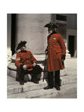 Two Pensioners in Signature Scarlet Coats, Outside of a Hospital Photographic Print by Clifton R. Adams