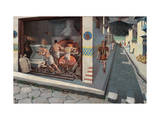 Roman Soldier Walks Down Pompeii Street Past a Bakery Giclee Print by H.M. Herget