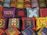 Kathmandu, Nepal, Asia- Cushions Being Sold in Market Stall Photographic Print by Keenpress 