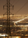 Denver Skyline Lights Up the Night, Framed by Power Lines Photographic Print by Jim Richardson