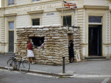 Sand Bag Shelter Outside a Bank Was Built to Spur War Effort Drives Photographic Print by Howell Walker