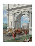 Roman Soldiers Lead Chained Captives in Triumphal Procession in Rome Giclee Print by H.M. Herget