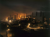 Blast Furnaces of a Steel Mill Light the Night Photographic Print by Joseph Baylor Roberts