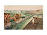 In Prehistoric Lower Egypt, Men Return from Successful Lion Hunt Giclee Print by H.M. Herget