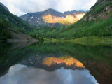 Morning Light on Maroon Bells, Reflected in Maroon Lake, Colorado Photographic Print by Charles Kogod