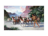 Llama Herders Drive their Pack, Loaded with Fine Textiles and Pottery Giclee Print by H.M. Herget