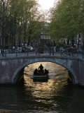 Holland, Amsterdam, Canal and Bridge Traffic Photographic Print by  Keenpress