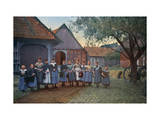 Group of School Children Stand in a Row Outside of their School Photographic Print by Hans Hildenbrand