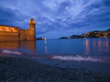 Surf on the Beach Near the Entrance to the Harbor of Collioure Photographic Print by Michael Melford