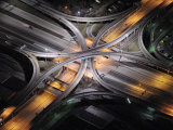 Aerial View of an Interstate Interchange in Detroit at Night Photographic Print by Jim Richardson