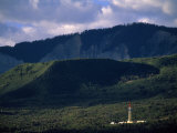 Gas Drilling Rig at the Foot of the Roan Plateau Photographic Print by Joel Sartore