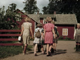 Swedish Children Hurry to School Photographic Print by Volkmar K. Wentzel