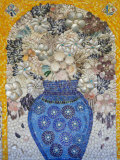 Mosaic of Flower Vase Made from Seashells and Mosaic Stones Photographic Print by Keenpress