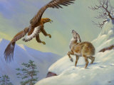 This Painting Depicts a Himalayan Deer Fighting Off an Eagle Photographic Print by Walter Weber