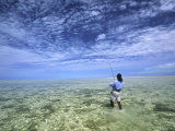Flyfishing for Bonefish on the Bahama Flats Photographic Print by Michael Melford