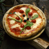 Florence, Italy, Europe-Italian Pizza Sitting Outside of Restaurant Photographic Print by  Keenpress