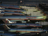American Airlines Passenger Jets at Terminals at O'Hare Airport Fotografisk tryk af Paul Chesley