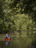 Man Paddling a Canoe Down the Chesapeake and Ohio Canal Photographic Print by Greg Dale