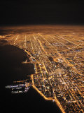 Chicago Glows in the Night as Clouds Drift in Off the Lake Photographic Print by Jim Richardson