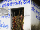 Blue Sanskrit Writing on House Photographic Print by Keenpress 
