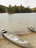 Canoes Parked on Shoreline of Emerald Lake in Autumn, Vermont Photographic Print by James Forte