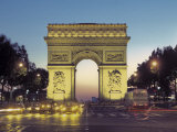 Arc De Triomphe and the Champs-Elysees Boulevard at Dusk Photographic Print by Richard Nowitz