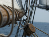 Close Up View of a Mast and Block of a Tall Ship Fotoprint van Todd Gipstein