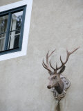 Stag Sculpture Stands over the Front Entrance of Schoenbuehel Castle Photographic Print by  Keenpress