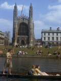 Students Boating on the Cam River Pass King&#39;s College Chapel Photographic Print by B. Anthony Stewart