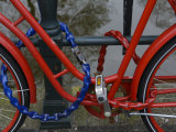 Bicycle Locked to Railings in Amsterdam, the Netherlands, Close-Up Photographic Print by  Keenpress