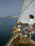 American Women Sail Off of the Coast of Massachusetts Photographic Print by Robert Sisson