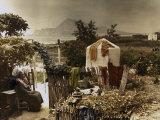 Woman Sits in Her Garden in Altea Lámina fotográfica por Courtellemont, Gervais