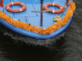 Amsterdam, Holland, Europe- Ship&#39;s Bow During Queen&#39;s Day Celebration Photographic Print by Keenpress 