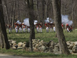 Reenactment of Battle Between British Redcoats and Colonial Minutemen Photographic Print by Tim Laman