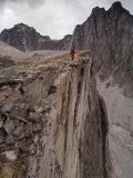 Mountaineer Hikes a Ridge on Mount Harrison Smith Photographic Print by Gordon Wiltsie