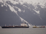 Oil Tanker and Tug Escorts in Prince William Sound, Alaska Photographic Print by Michael S. Quinton