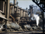 Railroad Containers Line Up to Take Molten Iron from Blast Furnaces Photographic Print by Willard Culver