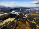 Lake in an Old Volcanic Crater or Caldera, and Surrounding Landscape Fotografisk tryk af Mattias Klum