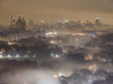 View over Central Park, Illuminated at Night Fotografiskt tryck av Jim Richardson