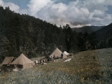 Campsite Is Set Up in an Alpine Meadow at Muli Photographic Print by Dr. Joseph F. Rock